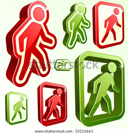 Vector don't walk and walk signs. - stock vector