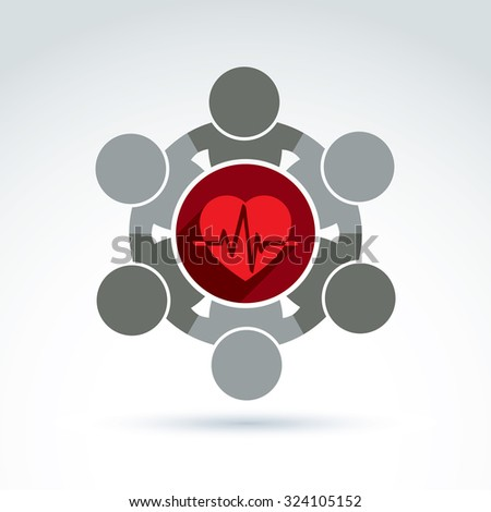 Vector donation symbol, charity association icon. Illustration of red loving heart with an ecg placed in circle, heartbeat. Concept of assistance and volunteer. - stock vector