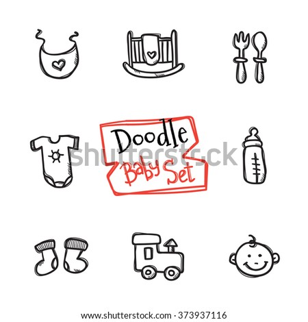 Vector doodle baby icons set. Cute hand drawn collection of kids objects - stock vector
