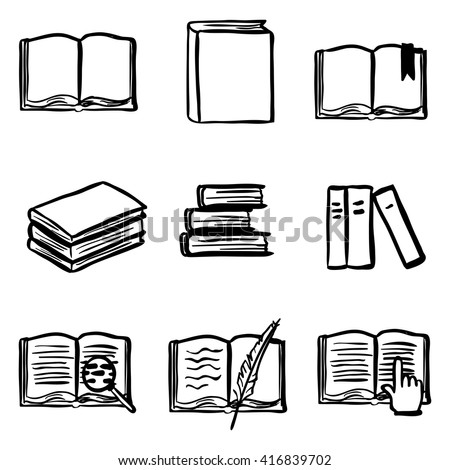 Vector Doodle Book Icon Set. Open Book, Closed Book, Bookmark, Pile of Books, E-books. Library Icons.