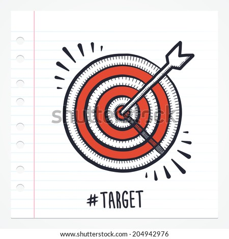 Vector doodle bulls eye icon illustration with color, drawn on lined note paper. - stock vector