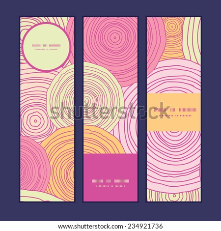Vector doodle circle texture vertical banners set pattern background - stock vector