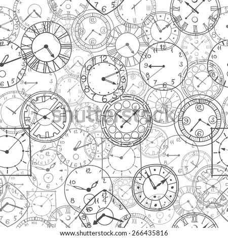 vector doodle clock, simple hand drawn seamless background - stock vector