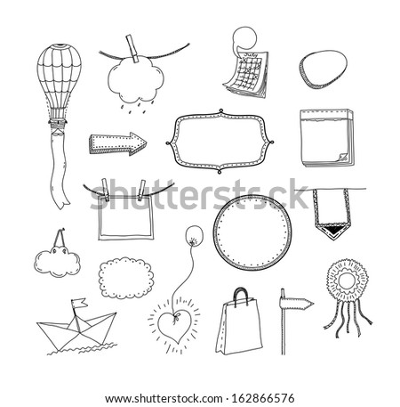 Vector doodle collection of hand drawn frames and signs with space for your text message and information. Isolated on white background - stock vector