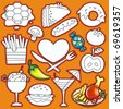 Vector doodle cute set of food icons. part 2 - stock photo