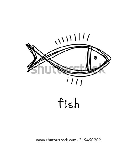 Vector doodle fish icon. Logo design template. Cute hand drawn childish linear illustration for print, web - stock vector