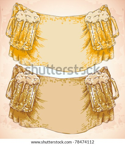 vector doodle frame with beer glasses on textile background - stock vector