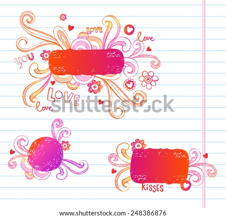 Vector doodle frames for Valentines day. Very useful for any project - stock vector