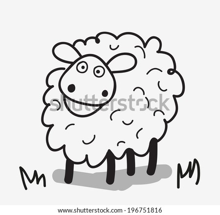 vector doodle funny  sheep isolated on white background - stock vector