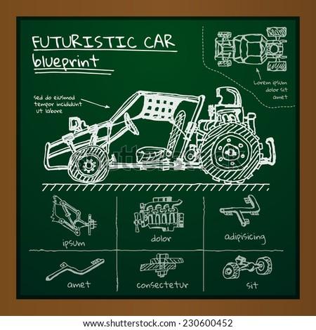 Vector doodle futuristic car scheme on blackboard. Eps10 - stock vector