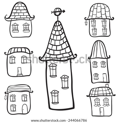 Vector doodle hand draw houses - stock vector