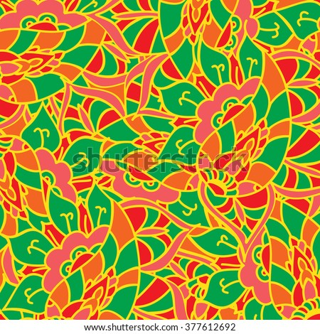 Vector doodle hand drawn pattern. Texture with abstract flowers. Bright ethnic backdrop. Summer template. For wallpaper, web page background. Colorful floral elements.  - stock vector