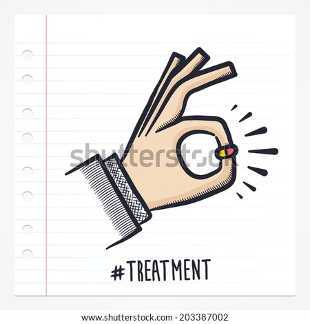 Vector doodle hand with pill icon illustration with color, drawn on lined note paper.  - stock vector