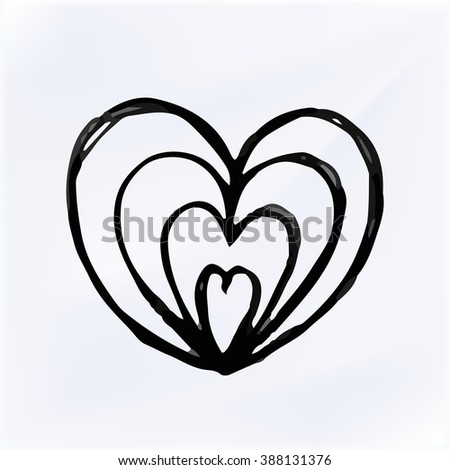 Vector doodle Heart Isolated. Hand drawn illustration