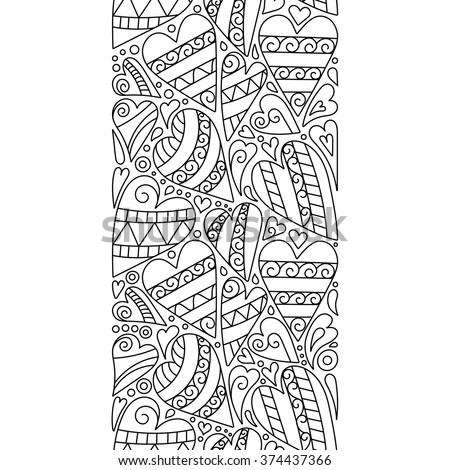 Vector doodle hearts seamless border. Doodle decorative element. Color book page. - stock vector