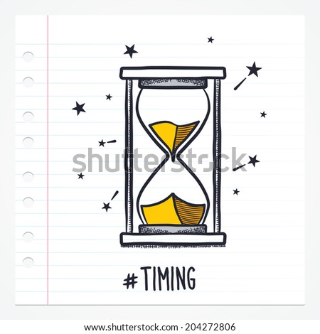 Vector doodle hour glass icon illustration with color, drawn on lined note paper. - stock vector