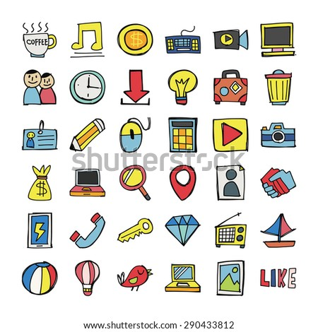 Vector Doodle Icons. - stock vector