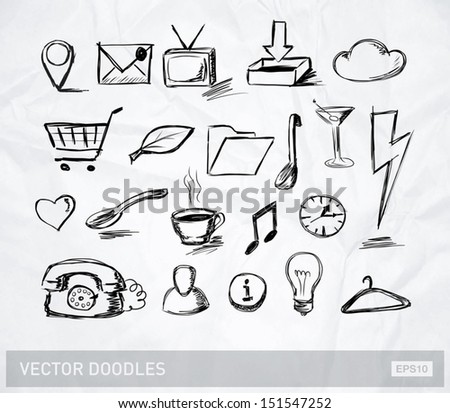 Vector doodle icons and objects collection on crumpled paper - stock vector