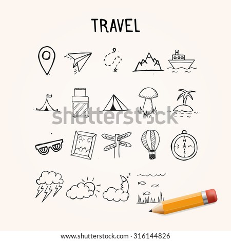 Vector Doodle Icons, travel hand drawn objects - stock vector