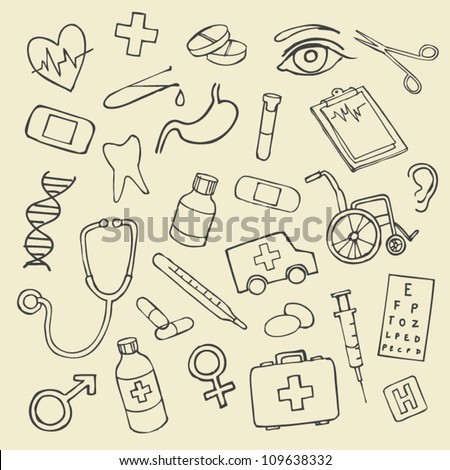 Vector doodle illustration Medicine icons - stock vector