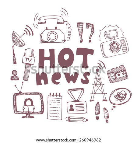 Vector doodle journalism hot news illustration. Set of hand drawn symbols with tv, camera, speech bubble, telephone, dictaphone, radio - stock vector