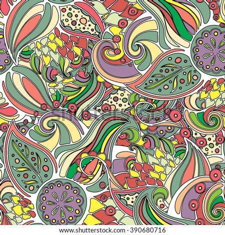 Vector doodle leaves & paisleys seamless pattern. Wavy pattern created for background, wallpaper, notebook wrapping, textile, web design.