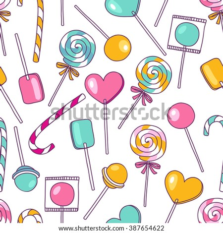 Vector doodle lollipops pattern. Bright sweet food hand drawn illustration. Cartoon candy background. Great for baby decor - stock vector