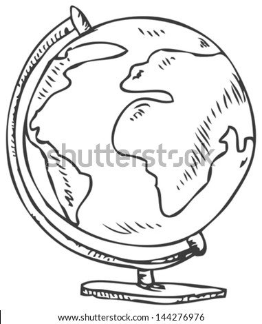 Vector doodle of a world globe stand - stock vector