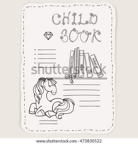 vector doodle page for kids and children pony and books child magazine coloring