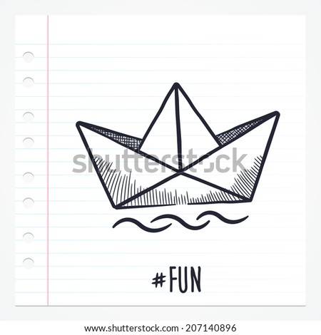 Vector doodle paper ship boat illustration with color, drawn on lined note paper.
