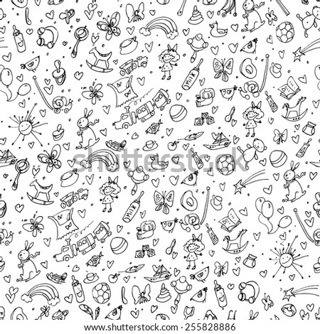 Vector doodle seamless pattern with baby items