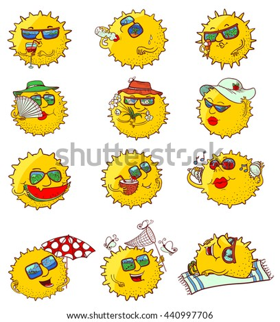 Vector doodle set with sun characters with summer leisure - stock vector