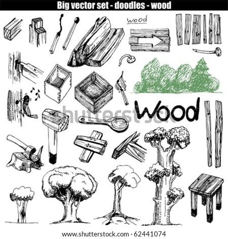 vector doodle set - wood - stock vector