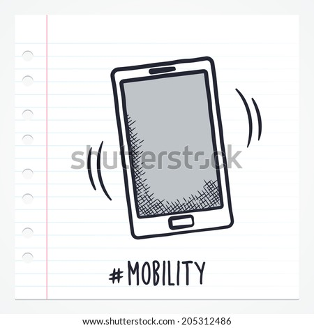 Vector doodle smartphone icon illustration with color, drawn on lined note paper. - stock vector