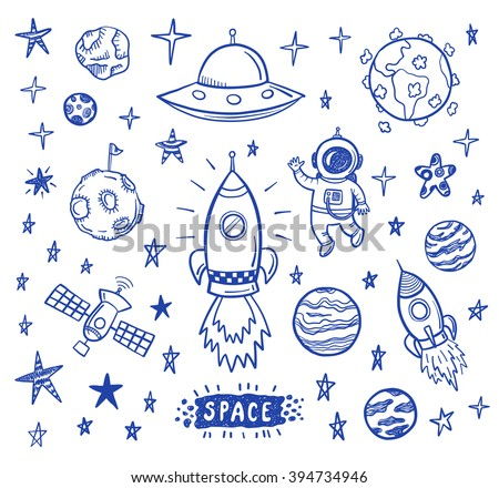 Vector doodle space set - stock vector