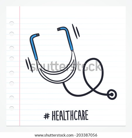 Vector doodle stethoscope icon illustration with color, drawn on lined note paper.  - stock vector