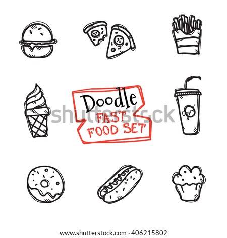 Vector doodle style fast food set. Cute hand drawn collection of fast food objects