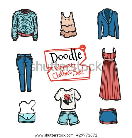 Vector doodle style women clothes icons set. Hand drawn collection of fashion objects - stock vector