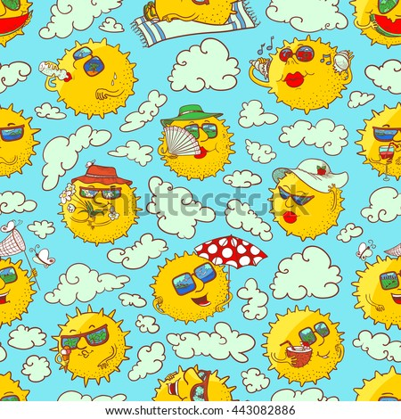 Vector doodle summer seamless pattern with sun characters in the clouds - stock vector