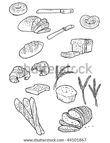 Vector doodles of bread and bread things. - stock vector