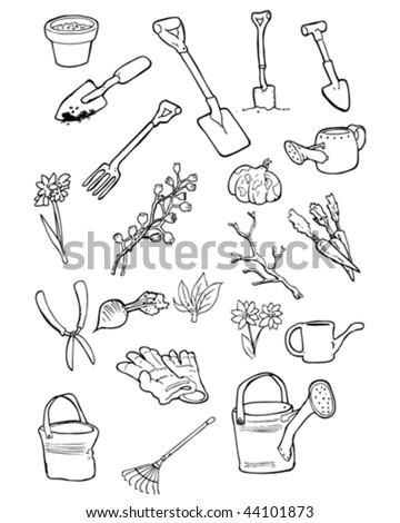 Vector doodles of garden tools and gardening things. - stock vector
