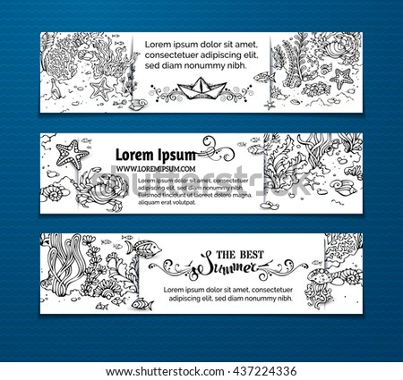 Vector doodles sea life horizontal banners. Contours of fish, starfish, crab, shell, jellyfish, seaweed, bottle with a letter and key on the bottom. There is place for your text on white paper. - stock vector