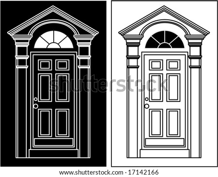 vector door icon company logo (black and white versions) - stock vector