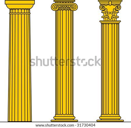 Vector Doric, Ionic & Corinthian Columns - stock vector