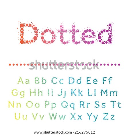 Vector dotted font. Bright modern multicircles type. - stock vector