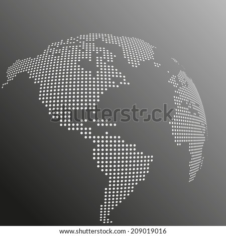 Vector dotted globe map - stock vector