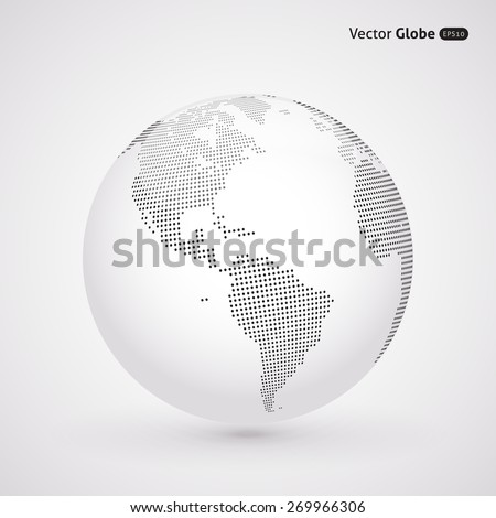 Vector dotted light globe, views over North and South America - stock vector