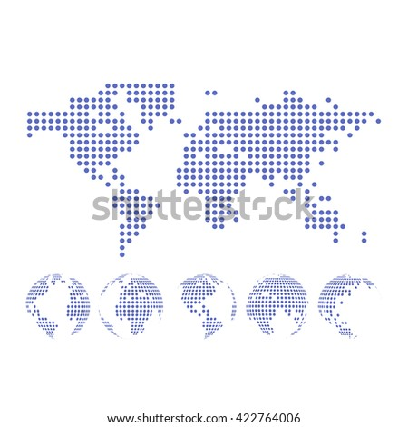 Vector dotted Map and Globe of the World. - stock vector