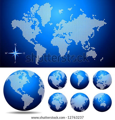 Vector dotted  Map and Globe of the World . Easy change colors. - stock vector
