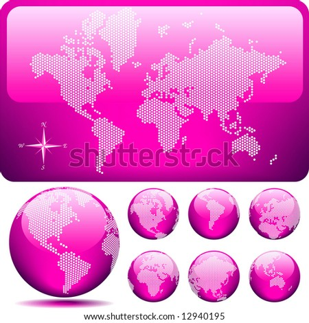 Vector dotted Map and Globe of the World - glossy PINK. - stock vector